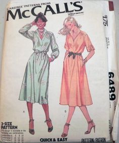 Vintage 1970s Shirtdress sewing pattern McCalls by SewVintageCo, $8.00 Long sleeve dress with belt