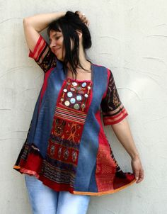 M Banjara denim recycled patchwork gypsy boho dress by jamfashion