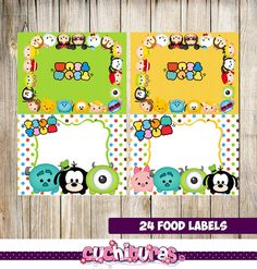 24 Tsum Tsum Food Tent Cards instant download Printable Tsum