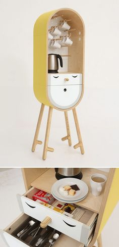 The capsular micro kitchen. Aotta studio has developed a project of a moveable capsular microkitchen/bar for home, office and hotel use. — LOLO by Aotta studio Cool Furniture, Furniture Design, Micro Kitchen, Compact Kitchen, Sweet Home, Deco Design, Industrial Design, Bars For Home, Home Accessories