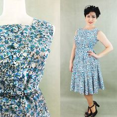 20 SALE Vintage Linen 1950's 50's dress / by EvelynWoodVintage, $265.00