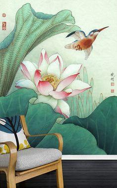 Tapisserie asiatique, image issue d'une peinture à l'encre de Chine, signée par l'artiste. Titre : Lotus rose avec l'oiseau