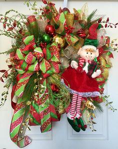 Glitz Whimsical Elf Mesh Christmas Wreath by WilliamsFloral