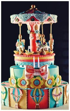 - horses were made out of candy melt. The top part spins..all edible decorations..
