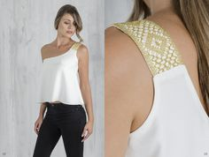 Bobbin lace, Pillow lace, one shoulder blouse, handmade, traditional Greek handicraft, bamboo fabric, sustainable fashion. www.ariadnesthread.gr