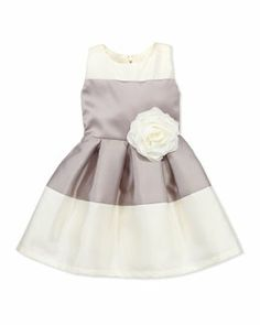 Z16Q8 Zoe Classy Lassie Two-Tone Box-Pleat Dress, Silver, Sizes 3-6