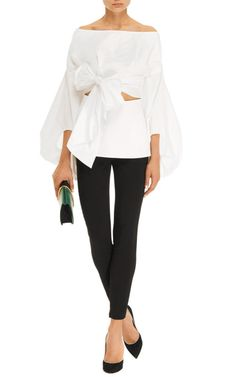 Belted Cut-Out Cotton-Poplin Top by Rosie Assoulin - Moda Operandi White Shirts, Look Chic, I Love Fashion, White Tops, Poplin, Dressing, Street Style, My Style, Casual