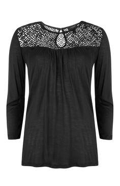 Primark - Blouse noire en crochet