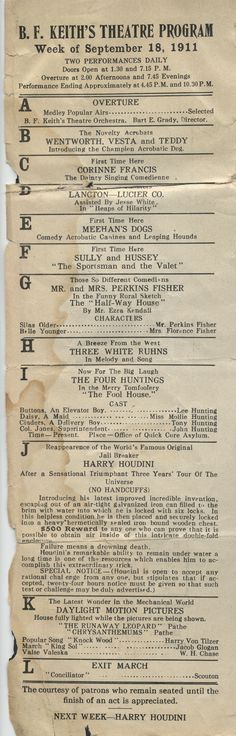 Title: Flyer, featuring Houdini, Keith's Theatre, week of September 15, 1911    Date: 1911-09-18    Description: A flyer from B.F. Keith's Theatre for two shows daily featuring Harry Houdini. It lists the various performances and players. The flyer measures approximately 8 cm wide by 25 cm tall.