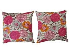 Pair of Pink and Orange Floral Pillows | The  Local Vault