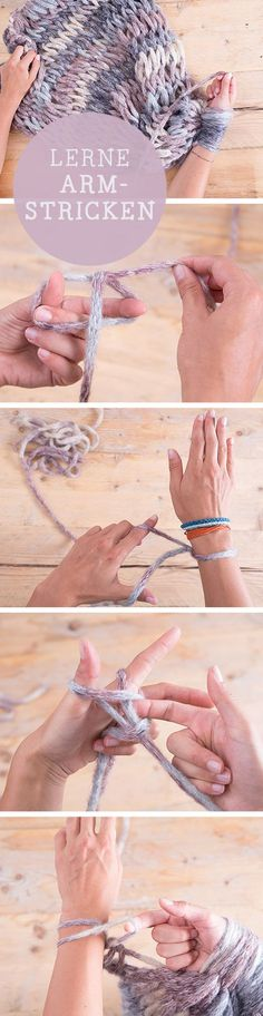 DIY-Anleitung: Lerne Armstricken, Schal stricken / diy tutorial: learn how to knit with your arms, crafting via DaWanda.com