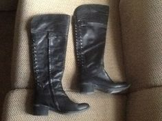 Vince Camuto Leather Otk Black Boots