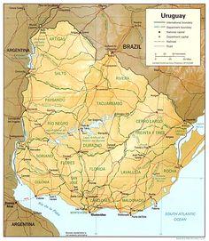 URUGUAY Mapa De Uruguay