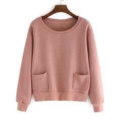 SheIn(sheinside) Pink Round Neck Pockets Crop Sweatshirt (195.290 IDR) ❤ liked on Polyvore featuring tops, hoodies, sweatshirts, pink, sheinside, sweaters, cropped sweatshirt, pink long sleeve top, round neck top and pink crop top
