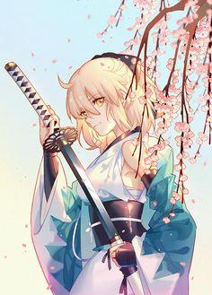 FGO-souji by INstockee on DeviantArt Anime Art Girl, Manga Girl, Manga Anime, Anime Boys, Anime Girl Kimono, Katana Anime, Samurai Anime, Kimono Animé, Anime Krieger