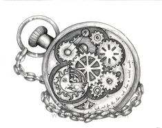 Steampunk Clock Tattoo Drawings Sketch Coloring Page Gear Tattoo, Punk Tattoo, Wrist Tattoo, Steampunk Pocket Watch, Steampunk Clock, Steampunk Octopus, Steampunk Heart, Steampunk Design, Clock Tattoo Design