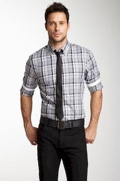 291f1f796b66 Men's Fashion: Black & White Plaid Shirt, Black Pants with Black Belt & Tie.