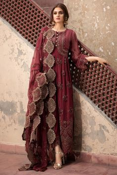 Buy Pakistani Indian Party Dresses-Chiffon Party Outfit in Maroon Color-Pakistani Indian Party Wear - Pakistani dresses Pakistani Fashion Party Wear, Pakistani Formal Dresses, Pakistani Wedding Outfits, Indian Party Wear, Pakistani Dress Design, Indian Fashion, Pakistani Casual Wear, Beautiful Pakistani Dresses, Latest Pakistani Fashion