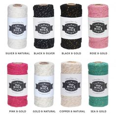 Sparkly Luxe Baker's Twine With Sparly Thread Bakers Twine, Black Gold, Pink, Copper, Rose Gold, Creative, Silver, How To Make, Wedding