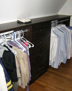 Closet solutions for slanted ceiling