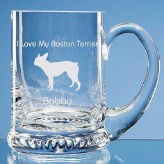Boston Terrier Dog Lover Gift Personalised Handmade Fine Glass Tankard - Add Name or Message - Birthday Gift, Valentine Gift, Christmas Gift