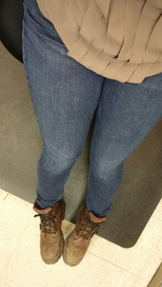 Trying something new for work: skinnies w tall work boots.