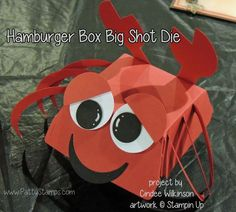 Stampin' Up! hamburger box big shot die turned in to a cute lobster box!