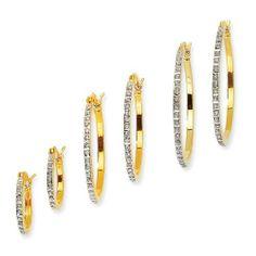 Sterling Silver & Gold-plated Dia. Mystique Round Hinged Hoop Earrings Set Jewelry Adviser Hoop Earrings. $102.68