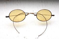 Rare Antique 1800s Sunglasses // Rare Victorian Amber Yellow Lens Eyeglasses // Regency 19th Century // Sharpshooter Civil War Era // #S15 by ifoundgallery on Etsy