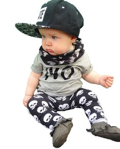2016 summer fashion baby boy clothes newborn baby boys clothing set cotton letters NO T-shirt+Skull Pants Infant clothes