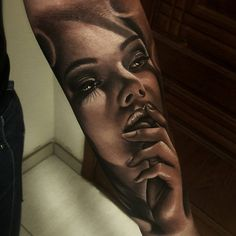 Image may contain: 1 person, closeup Girl Face Tattoo, Girl Face Drawing, Girl Arm Tattoos, Body Art Tattoos, Forarm Tattoos, Dope Tattoos, Badass Tattoos, Mini Tattoos, Tatoos