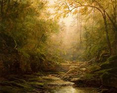 "Erik Koeppel  ""Sunrise at Kaaterskill Creek"" 16 x 20 inches Oil on panel"
