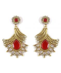 Ethnic Traditional Bollywood Fashion Gold Plated Polki Indian Earring Partywear Jewelry