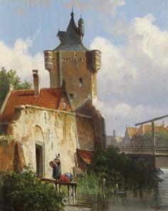 Willem Koekkoek (Amsterdam 1839-1895 Nieuwer-Amstel (thans Amstelveen)) Figuren op een steiger bij een stadsgracht - Kunsthandel Simonis en Buunk, Ede (Nederland).