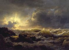 Andreas Achenbach's dramatic sea painting Clearing Up–Coast of Sicily exhibited in 1849 in New York City.