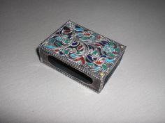 Antike Silber Emaille Streichholzschachtel Etui / Match box holder