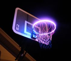 Hoop Light: Led Lit Basketball Rim Attachment Helps You Shoot Hoops At Night - Unique Gifts - Basketball Party, Love And Basketball, Basketball Quotes, Sports Basketball, Basketball Signs, Basketball Tattoos, Basketball Bedroom, Basketball Floor, Basketball Stuff