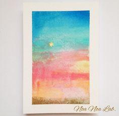 早朝の空が明ける前に現れる金星、明けの明星と、空と海のグラデーションを水彩で描きました。空と海のグラデーション、色が無限なのでシリーズで制作・お届けしています...|ハンドメイド、手作り、手仕事品の通販・販売・購入ならCreema。