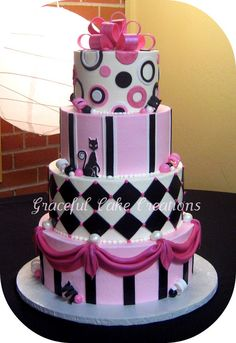 Whimsical Pink Black and White Sweet Sixteen Birthday Cake