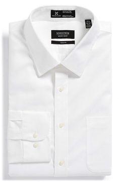Nordstrom Smartcare™ Wrinkle Free Herringbone Trim Fit Dress Shirt available at #Nordstrom