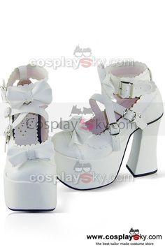Gothic Lolita White Shoes Boots 12cm High Heels