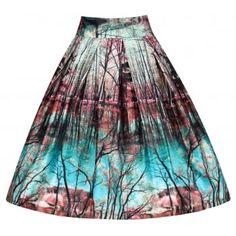 'Tippi' Rosbul Print Swing Skirt