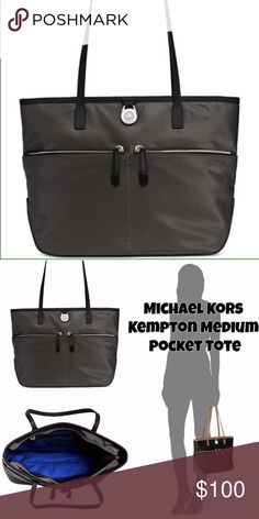 "Michael Kors Gray Medium Kempton Tote LOWEST! Lovely bag for any occasion! Nylon bag with leather trim and handles! Double shoulder straps with 10"" drop!  Top zip closure and exterior features gold- or silver-tone hardware and 2 front zip pockets Interior features 1 zip pocket, 3 slip pockets and 1 cellphone pocket 14-1/2"" W x 9-1/2"" H x 4-1/2"" D Silhouette is based off 5'9"" model. Michael Kors Bags Totes"
