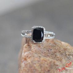 Black Spinel & Diamond Split shank halo ring white, yellow, rose gold-Custom made your size-Wedding-Engagement-Anniversary-Layaway 14k-18k