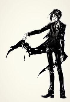 Here Sebastian look like fallen angel