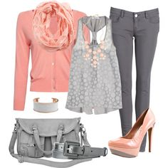 """Dots: Grey & PInk"" by heather-rolin on Polyvore"