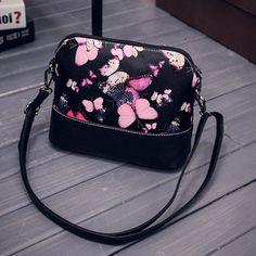2016 Hot Sale! Women Printing Shoulder Bag PU Leather Purse Satchel Messenger Bag Vintage Designer Graffiti Butterfly Girl Bolso