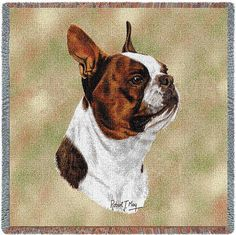 Brown Boston Terrier Dog Portrait Art Tapestry Lap Throw