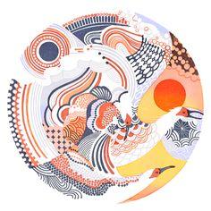 A traveling star - Yasuko Aoyama, eraser printmaking Japanese Patterns, Japanese Prints, Japanese Illustration, Illustration Art, Drawn Art, Japan Design, China Art, Japan Art, Illustrations