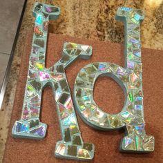 Kappa Delta sorority letters using CDs diy corkboard big little clue week
